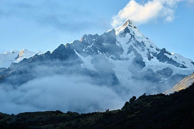 Vista del impresionante nevado Salkantay