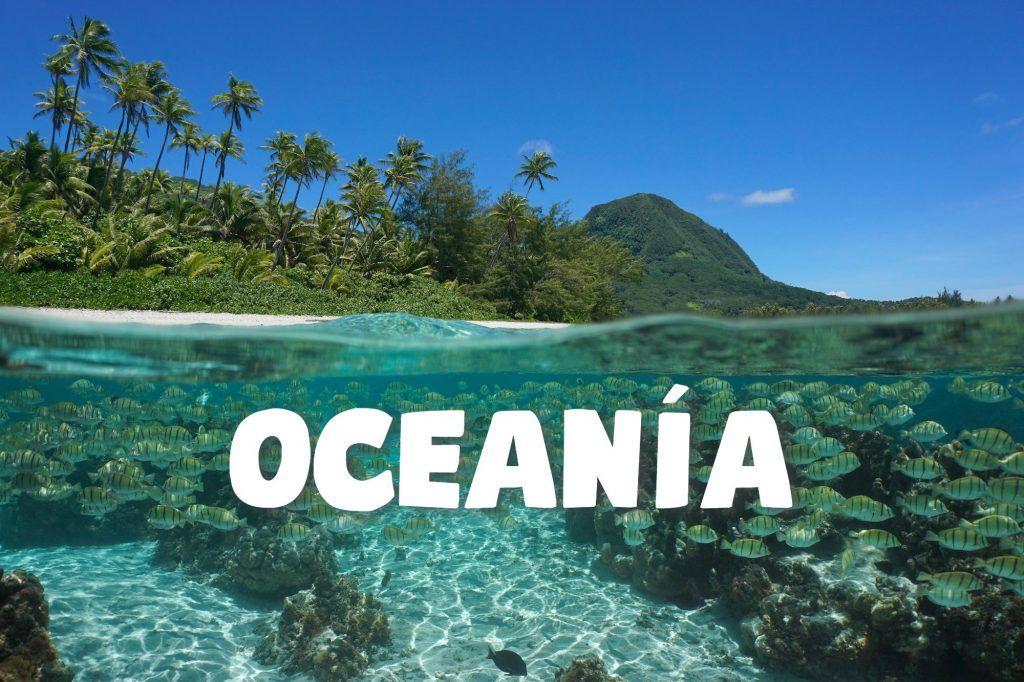 Vista de una isla con palmeras y agua cristalina viéndose el fondo del mar.