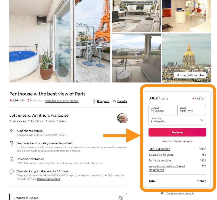 captura de pantalla de la web de airbnb